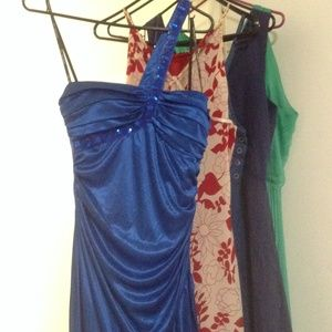 Long royal blue jewel satin gown